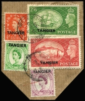 Lot 31 [1 of 5]:Morocco Agencies - Tangier 1949-57 Array including 1949 2d to 1/- used (Cat £150+), 1950-51 set (ex 4d) used plus 2/6d & 5/- on piece with QEII ½d 6d & 7d, QEII 1955 Castles 2/6d to 10/- sets x2 mint (one set MUH) plus used, 1957 Centenary set marginal MUH, also various used duplicates; some used stamps with British postmarks; generally fine, Cat £350+. (130)