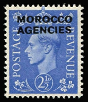 Lot 45 [1 of 4]:Morocco Agencies 1898-1952 Mint Selection with QV 1898 Opts on Gibraltar 1p & 2p, KGV Opts on GB 1925-36 ½d to 1/- set (ex 4d), 1935 Jubilee, 1935-37 2/6d & 5/- Re-engraved Seahorses, KGVI 1949 ½d to 5/- set & 1959 ½d to 5/- set; Spanish Currency with KGV 3p on 2/6d Seahorse, KGVI 1937-52 Definive set, 1948 45p on £1 Wedding corner marginal MUH; French Currency KGV Seahorses 1924-32 3f on 2/6d x4 & 6f on 5/- 1935-36 Re-engraved 3f on 2/6d x2 & 6f on 5/-; condition variable, mostly fine. Cat £450+. ( Approx 170)
