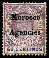 Lot 46 [1 of 5]:Morocco Agencies 1898-1952 Used Accumulation with QV 1898 Opts on Gibraltar 50c & 2p & 1899 5c to 1p, KEVII 1905-06 50c, 1p & 2p (all in variable condition), 1907-13 Opts on GB 4d orange, 6d & 1/-, 1935 1d, 1½d & 2½d Jubilee, KGVI 1949 2/6d & 5/- (crease), 1951 2/6d & 5/-; Spanish Currency with 1907-12 KEVII 1p on 10d, 3p on 2/6d & 6p on 5/-; French Currency with KGV Seahorses 3p on 2/6d x2 & 6p on 5/-; some duplication, condition variable, Cat £650+. (220+)