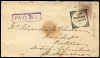 "Lot 49 [3 of 7]:Postal History Selection with [1] Boer War 1901 ""On Active Service"" cover from Newcastle (Natal) to Queensland, TPO No 4 (Qld) transit backstamp; [2] South Australia 1d optd 'OS' Postal Card with printed notice for HM Customs (Port Adelaide), locally addressed; [3] Tasmania 1912 stampless OHMS printed Electoral Papers cover; [4] New Zealand 1889 Dunedin to British Columbia with boxed 'PAID ALL' handstamp in violet; [5] Victoria 1901 OHMS registered front to Fiji. (5)"