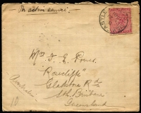 "Lot 49 [1 of 7]:Postal History Selection with [1] Boer War 1901 ""On Active Service"" cover from Newcastle (Natal) to Queensland, TPO No 4 (Qld) transit backstamp; [2] South Australia 1d optd 'OS' Postal Card with printed notice for HM Customs (Port Adelaide), locally addressed; [3] Tasmania 1912 stampless OHMS printed Electoral Papers cover; [4] New Zealand 1889 Dunedin to British Columbia with boxed 'PAID ALL' handstamp in violet; [5] Victoria 1901 OHMS registered front to Fiji. (5)"