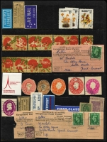 Lot 67 [3 of 6]:World Array with Australian Colonial revenues, Cinderelllas, world airmail & registration labels, Herm Island & Lundy Island mint, etc. Interesting mix of material. (100s)