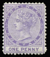 Lot 1296:1874 Wmk Crown CC 1d lilac P12½, SG #1, fine mint, Cat £150.