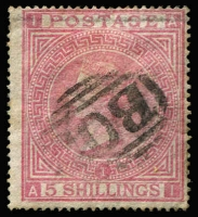 Lot 1297 [1 of 5]:1858-79 Issues Used in Alexandria 'B01' cancelled selection with 1d red plate x3 including Pl 168 on book post wrapper to UK, 2½d rosy mauve, 3d rose Pl 4 & 9, 4d bright red Pl 3, 4d vermilion x20 including two pairs & two singles on a cover front, 6d lilac x7, 6d violet x3, 6d buff, 6d chestnut, 6d grey, 9d straw, 10d red-brown, 1/- green x9 including #Z34, 2/- (straight edge) & 5/- rose x2; condition somewhat variable, many are fine, Cat £2,400+. (50 plus wrapper & a front)