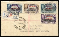 Lot 1334 [1 of 2]:1945 Operation Tabarin South Shetlands cover registered to South Australia bearing South Shetlands 1d, 3d, 6d & 9d overprinted pictorials, Sydney registration label (hand stamped in red), being the only known example of such usage, affixed over Sydney NSW '4JE45' datestamp.