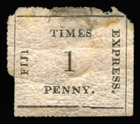 Lot 1487:1870-71 Fiji Times Express Batonné Paper 1d black/rose SG #5, thinned at top and edge defects, good-part og, Cat £1,100 (when fine).