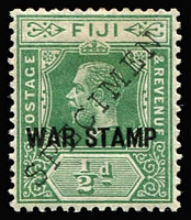 Lot 1336 [2 of 2]:1915-19 'WAR STAMP' Overprint KGV ½d and 1d with diagonal 'SPECIMEN' handstamps SG #138s-39s, fine mint, Cat £140. (2)