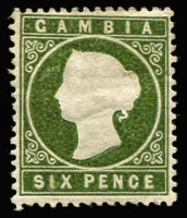 Lot 1344:1886-93 QV Cameos Wmk Crown CA 6d yellowish olive-green variety Sloping label [R1/5] SG #32a, mint with hinge remain, Cat £300.
