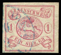 Lot 1346:1852 1sgr rose Mi #1, complete margins, tidy datestamp cancel in blue, fine used with Kaufmann guarantee handstamp, Cat €380.