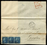 Lot 1117:1859-1885 Issues 2d blue Pl 13 strip of 3 tied by indistinct 'A26' cancels, SG #Z22, to large-part outer addresed to London SG #Z22, fine Gibraltar 'AP30/73' datestamp, on reverse boxed London EC arrival datestamp in red, some aging around stamps and central fold.