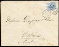 Lot 1120 [2 of 4]:1859-84 Issues 2½d blue SG #Z27 x4 tied by 'A26' cancels to 1880-84 separate covers comprising Pl 17 (to UK), Pl 19 (to France), Pl 20 (to Malta) & Pl 23 (to France); couple with minor aging; generally fine. (4)