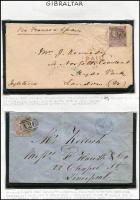 Lot 1122 [2 of 3]:1859-84 Issues 6d selection tied to cover by 'A26' cancels comprising [1] 6d lilac SG #Z42 tied by very fine 'A26' cancel to 1860 cover to Liverpool; [2] 6d lilac Pl 3 #Z43 on 1867 cover to London; [3] 6d lilac Pl 5 #Z44 on 1869 cover to England; [4] 6d grey Pl 12 #Z49 on 1873 cover to England; all with Gibraltar datestamps on face, generally fine, stamps alone Cat £220+. (4)