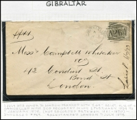 Lot 1122 [3 of 3]:1859-84 Issues 6d selection tied to cover by 'A26' cancels comprising [1] 6d lilac SG #Z42 tied by very fine 'A26' cancel to 1860 cover to Liverpool; [2] 6d lilac Pl 3 #Z43 on 1867 cover to London; [3] 6d lilac Pl 5 #Z44 on 1869 cover to England; [4] 6d grey Pl 12 #Z49 on 1873 cover to England; all with Gibraltar datestamps on face, generally fine, stamps alone Cat £220+. (4)