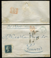 "Lot 1118:1859-84 Issues 2d blue Pl 8 tied by 'A26' cancel, SG #Z22, to outer to Italy endorsed ""col Vapore Crimean"" with very fine 'VIA/DI MARE/(E) handstamp in red, fine boxed Genova arrival backstamp in red."