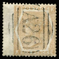 Lot 1361 [1 of 2]:1859-84 Issues wing-margin selection with 'A26' cancels comprising 4d vermilion Pl 12 #Z37, 6d lilac Pl 3 #Z43, 6d lilac Pl 5 #Z44, 6d lilac Pl 6 #Z45, 6d purple Pl 6 #Z46, 6d buff Pl 11 #Z48 x2 (both VFU), 6d grey Pl 12 #Z49 & 6d grey Pl 13 #Z50; odd tone spot, fine overall. (9)