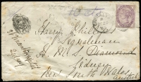 "Lot 1124 [1 of 2]:1885 (Dec 29) cover to ""HMS Diamond, Sydney,"" with GB 1d lilac tied by 'A26' duplex cancel, SG #Z77, underpaid for ship mail to Australia with manuscript ""10 cts"" marking, subsequently identified as concession mail to a HM Ship with manuscript marking scored through & tax handstamp obliterated (with worn 'A26' canceller), Port Said & Suez transits & Sydney arrival backstamps, re-directed on arrival to St Vincent's Hospital. Late use of GB adhesives in Gibraltar."