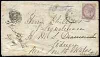 "Lot 1356 [2 of 7]:1859-85 Cover Selection comprising [1] 1859 (Feb 2) stampless entire to Portugal with '45' handstamp, Gibraltar Type 3 datestamp in blue, transit backstamps for San Roque, Cadiz & Lisbon and Porto double-ring arrival datestamp; [2] GB 6d lilac SG #Z11 x2 tied to separate 1858 outers to Glasgow or London by Type Z2 'G'-in bars cancels, each cover with Gibraltar datestamps in blue & appropriate arrival datestamps; [3] 1873 (Apr 30) 2d blue Pl 13 SG #Z13 strip of 3 tied by indistinct 'A26' cancels to large-part outer to London; [4] 1859 (Nov 12) 2d blue Pl 8 on outer to Italy endorsed ""col Vapore Crimean"" with very fine 'VIA/DI MARE/(E) handstamp in red; [5] (Dec 29) cover to ""HMS Diamond, Sydney"" with GB 1d lilac tied by 'A26' duplex cancel, SG #Z77, underpaid with manuscript ""10 cts"" marking, subsequently identified as concession mail to a HM Ship with manuscript marking scored through & tax handstamp obliterated (with worn 'A26' canceller), re-directed on arrival to St Vincent's Hospital; interesting group, condition variable, generally fine. (6)"
