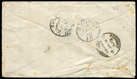 "Lot 1356 [3 of 7]:1859-85 Cover Selection comprising [1] 1859 (Feb 2) stampless entire to Portugal with '45' handstamp, Gibraltar Type 3 datestamp in blue, transit backstamps for San Roque, Cadiz & Lisbon and Porto double-ring arrival datestamp; [2] GB 6d lilac SG #Z11 x2 tied to separate 1858 outers to Glasgow or London by Type Z2 'G'-in bars cancels, each cover with Gibraltar datestamps in blue & appropriate arrival datestamps; [3] 1873 (Apr 30) 2d blue Pl 13 SG #Z13 strip of 3 tied by indistinct 'A26' cancels to large-part outer to London; [4] 1859 (Nov 12) 2d blue Pl 8 on outer to Italy endorsed ""col Vapore Crimean"" with very fine 'VIA/DI MARE/(E) handstamp in red; [5] (Dec 29) cover to ""HMS Diamond, Sydney"" with GB 1d lilac tied by 'A26' duplex cancel, SG #Z77, underpaid with manuscript ""10 cts"" marking, subsequently identified as concession mail to a HM Ship with manuscript marking scored through & tax handstamp obliterated (with worn 'A26' canceller), re-directed on arrival to St Vincent's Hospital; interesting group, condition variable, generally fine. (6)"