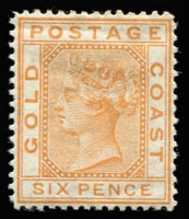 Lot 1398:1876-84 Wmk Crown CC 6d orange SG #8, large-part gum, Cat £325.