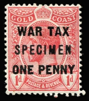 Lot 1373:1918 'ONE PENNY' War Tax optd 'SPECIMEN' SG #85s, fine mint, Cat £65. Scarce.