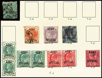 Lot 457 [1 of 3]:QV & KEVII Officials with 'ARMY/OFFICIAL' QV ½d blue-green pair & 6d plus KEVII ½d & 1d pairs mint, 'BOARD/OF/EDUCATION' KEVII 1d pair used, 'GOVT/PARCELS', 1887-90 1½d to 1/- set used, plus 1900 1/- green & carmine & KEVII 9d used; ½d 'O.W./OFFICIAL' used, etc. Usual mixed condiion, high catalogue value. (28)