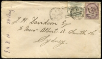 Lot 1416 [1 of 2]:1884 (Aug 24) cover to Sydney with 6d green & 1d lilac tied by 'EDINB CARSTAIRS SORTING TENDER' duplex datestamps, Sydney (Oct 4) arrival backstamp.