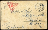 Lot 388 [2 of 6]:1915-19 WWI Censored Postcards various FPO datestamps and censor handstamps. with French cards x4, plus one Belgian & one Egyptian card. (6)