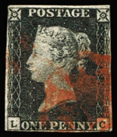 Lot 1504:1840 1d Black Plate 4 [LC] SG #2, margins close but largely complete (very close at upper left & right), red MC cancel, Cat £400.