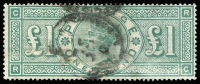 Lot 1408:1887-92 Jubilee £1 green SG #212, perfs improved/repaired at lower right. Presents well, Cat £800.