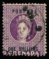 Lot 1419:1875 QV 1/- deep mauve, variety 'SHLLIING' SG #13a, fine used, Cat £700.