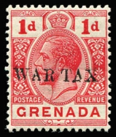 Lot 1422:1916 War Tax Overprints 1d red overprint variety Triangle for 'A' in 'TAX' SG #109b, fresh MUH, Cat £55+.