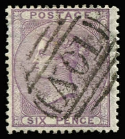 Lot 1260:1859-60 Issues Used In Kingston 6d lilac with very fine and largely complete strike of Type Z3 'A01' cancel SG #Z15, Cat £375.