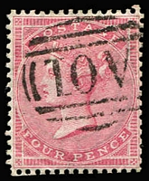 Lot 1647 [2 of 4]:1859-60 Issues Used in Kingston 1d rose-red P14, 4d rose-carmine & 6d lilac x2 (one with straight edge), all with fine and largely complete strikes of Type Z3 'A01' cancels SG #Z12, Z14 & Z15, Cat £1,725 (4)