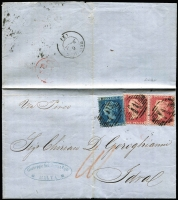 Lot 1294:1857-59 Issues 1d red Stars pair & 2d blue Pl 7 tied by three good strikes of 'M'-in bars cancel, SG #Z12&Z17, on 1858 merchant's entire to Idral (Greece), on reverse Malta departure & Greek arrival datestamps, flattened central fold well clear of adhesives. Richter Certificate (1991).