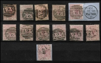 Lot 1299 [2 of 2]:1859-84 Issues Large Coloured Corner Letters 2½d rosy-mauve Plates 4 to 17 complete (ex Pl 11) all with 'A25' cancels SG #Z38, Pl 8 on piece with datestamp alongside, Pl 17 being particularly scarce, odd blemish, generally fine, Cat £220+. (14)