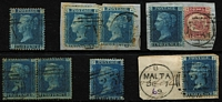 Lot 1440 [2 of 6]:1859-84 Issues comprising [1] Wmk Large Crown 2d blue SG #Z34 Pl 7, Pl 8 x2 on piece (edge toning), Pl 9 pair, Pl 13 pair (toning), Pl 14, Pl 15 on piece & Pl 16 on piece with ½d Bantam Pl 4; [2] Large Coloured Corner Letters 2½d rosy-mauve SG #Z38 Plates 4 to 17 complete (ex Pl 11), Pl 8 on piece with datestamp alongside; [3] Large Uncoloured Corner Letters 3d rose SG #Z43 Plates 4 (short corner) to 10 complete (plate 8 small faults); also Large Coloured Corner Letters SG #Z44 Plates 15, 16 (short perfs) & 17;[4] 4d vermilion SG #Z49 Plates 7 (used on piece) to 14 complete including Pl 11 pair, Plates 8, 10 & 12 with wing-margins; [5] 1/- green with #Z76, #Z79 Plates 4, 5, 6 & 7, #Z80 Plates 8 & 12; generally clear 'A25' cancels (a few datestamp cancelled), some blemishes/tones, generally fine, Cat £1,290+ (46 items)