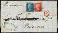 Lot 1298 [2 of 3]:1859-84 Issues 2d blue SG #Z34 frankings on cover comprising [1] 1861 entire with 2d Pl 8 plus 1d red #Z27 tied by Malta 'A25' duplex to Messina, Italy, arrival backstamp; [2] 1872 to UK with 2d Pl 13 plus 6d violet Pl 9 #Z60 tied by 'A25' duplex, Liverpool arrival backstamp; [3] 1879 to Siracusa with 2d blue Pl 15 plus ½d Bantam Pl 13, tied by 'A25' duplex, mild aging, arrival backstamp. (3)