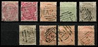 Lot 1441 [2 of 2]:1859-84 Issues Selection comprising Small Uncoloured Corner Letters 3d carmine-rose & Large Uncoloured Corner Letters 3d rose Pl 4 (1866 datestamp) SG #Z41-42, 4d vermilion Pl 15 SG #Z50, 4d sage-green Pl 15 & Wmk Crown 4d grey-brown plates 17 & 18 SG Z51 & Z53, 10d pale red-brown & 10d deep red-brown SG #Z72, few nibbed perfs, 1/- orange-brown Pl 13 Wmk Spray & 1/- orange-brown Wmk Imperial Crown Z81-82; generally fine used with clearly discernible 'A25' cancels, Cat £1,300. (10)