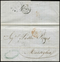 "Lot 1446 [3 of 9]:1852-84 Selection of Covers with [1] 1852 pre-stamp (Nov 2) to Marseilles with good strike of Malta double-arc datestamp, 'POSS.ANGL MARSEILLE' mailboat datestamp in red, weak arrival backstamp and (Dec 13) to Egypt rated ""5"" with good strike of 'MALTA/DE13/1852/PAID' datestamp fine Alexandria 'DE17/1852' double-arc arrival datestamp; [2] 1858 (May 1) entire addressed to Gibraltar with 4d rose wing-margin SG #Z18 tied by 'M'-in bars cancel, superb 'GREEK & ORIENTAL/STEAM NAVIGATION Co' agency handstamp; [3] 2d blue SG #Z34 on covers x3 comprising (i) 1861 entire with Pl 8 plus 1d red #Z27 to Messina, Italy, (ii) 1872 to UK with Pl 13 plus 6d violet Pl 9 #Z6, & (iii) 1879 to Siracusa with Pl 15 plus ½d Bantam Pl 13; [4] 1859 (May 7) entire to Genoa with 4d vermilion SG #Z47, Italian 'PIROSCAFI/POSTALI/FRANCESI' (French Sea Mail) three-line handstamp in red; [5] 1859 (Aug 5) cover to England with 1/- green wing-margin SG #Z74 tied by fine 'A25' duplex; condition variable but mostly fine. (8)"