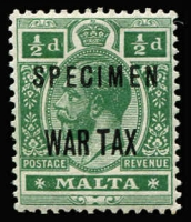 Lot 1442 [2 of 2]:1917-18 War Tax Overprints KGV ½d and KEVII 3d with 'SPECIMEN' overprints SG #92s-93s, fine mint, Cat £150. (2)