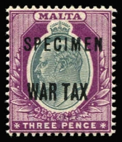 Lot 1442 [1 of 2]:1917-18 War Tax Overprints KGV ½d and KEVII 3d with 'SPECIMEN' overprints SG #92s-93s, fine mint, Cat £150. (2)