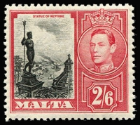 Lot 1444:1938-43 KGVI 2/6d black & scarlet variety Damaged value tablet SG #229a, fresh MUH, Cat £400.