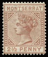 Lot 1446:1880 Wmk Crown CC 2½d red-brown P14 SG #4, fine mint, Cat £250.