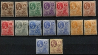 Lot 1450 [3 of 3]:1912-29 KGV Wmk Script CA ¼d to 5/- SG #63-83 with SG listed shades plus some additional shades, fine mint, Cat £100+. (26)
