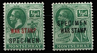 Lot 1448 [2 of 2]:1917-19 War Stamp Overprints on ½d (both types) & 1½d, all optd 'SPECIMEN' SG #60s-62s, fine mint, Cat £110. (3)