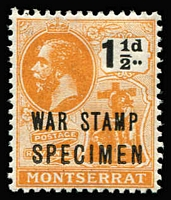 Lot 1448 [1 of 2]:1917-19 War Stamp Overprints on ½d (both types) & 1½d, all optd 'SPECIMEN' SG #60s-62s, fine mint, Cat £110. (3)