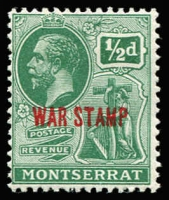 Lot 1449:1917-19 War Stamp Overprints KGV ½d green overprinted in red, variety Watermark inverted and reversed SG #60y, fine mint, Cat £70.