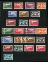 Lot 1592 [2 of 2]:1938-48 KGVI Pictorials ½d to 5/- P13 plus 10/- & £1 P12 set, also ½d to 5/- P14 set SG #101-12, some extra shades including 5/- P14, fine mint with 10/- & £1 values MUH, Cat £300+. (31)