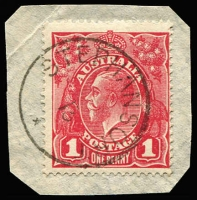 Lot 1224 [1 of 2]:Stephansort: complete Powell Type 7 datestamp tying Australia KGV 1d red to small piece; also Type 126 'P.O. PLEASANT ISLAND/AU23/16/(NAURU)', very fine complete strike tying NWPI 2½d to small piece. (2)