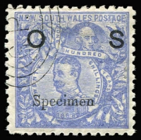 Lot 949 [2 of 2]:1890-91 'OS' Overprints: 5/- Map P10 (some nibbed perfs) & 20/- Centennial each with Type 11 'Specimen' overprints, both with 'GPO'-in concentric ovals CTO cancels, large-part gum. (Just 50 sets issued, McCredie's examples sold for $640 in the June 2011 sale of his collection). (2)